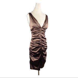 Xscape V-neck Bodycon Dress Smocked Satin Brown